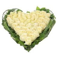 Flower Arrangement in the shape of heart White miracle - flowers and bouquets on flora.lg.ua