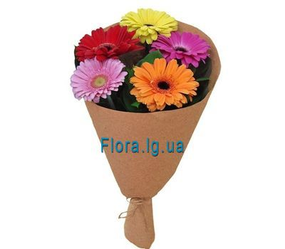 """""""A small bouquet of gerberas in craft"""" in the online flower shop flora.lg.ua"""